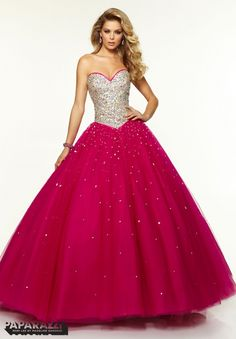 97107 Prom Dresses / Gowns Jeweled Beaded Bodice with Satin Trim on Tulle Ballgown Hot Pink