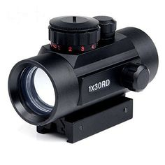 Rifle Scope 1x30mm Red Dot Sight with 20mm/11mm Weaver Picatinny Mount Rails, #Amasen
