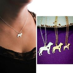 Pit Bull Dog Necklace  Pitbull  Animal Rescue  by IvyByDesign