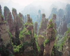 Can everyone stop posting that other picture?  It was photoshopped.  This is Zhangjiajie Scenic Area.