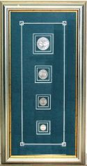 Cuba Framed Art FRAMED SET OF 4 SILVER COINS - FRONT; STAR . BACK; COAT OF ARMSSET INCLUDES  10 CENTAVOS, 20 CENTAVOS ,40 CENTAVOS AND 1 PESO COINS.  SET IS MOUNTED IN 10 X 19.5 INCHES WOOD FRAME.   Note: This item is subject to one of the...