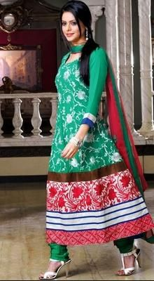 Magnificient Green Chudidar Kameez