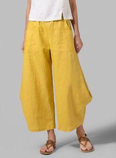 PLUS Clothing - Linen Flared Leg Crop Pants