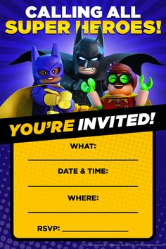 The next kid's birthday party will be amazing and awesome thanks to these invitations. Don't invite anyone lame though. Click here to print! http://pdl.warnerbros.com/wbol/ww/movies/legobatman/pinterest/LEGB_PartyBoard_PartyInvite_CallingAllSuperHeroes_Print_v1.pdf | The LEGO® Batman Movie | In theaters now