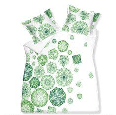 Literie avec image de fleur vert sur fond blanc