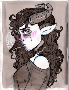 Print version of the black ink, ballpoint & gel pen image of a cute horned girl who looks like she's having a bad day. Also signed upon ordering.