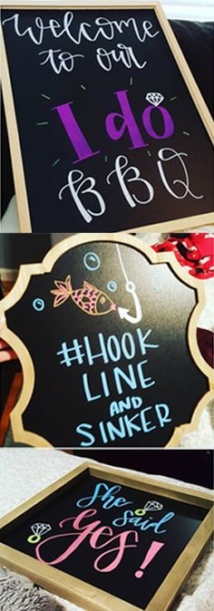 Chalkboard signs and boards for a engagement BBQ Engagement Party Signs, Backyard Engagement Parties, Surprise Engagement Party, Engagement Party Decorations, Wedding Signs, Engagement Photos, Wedding Backyard, Engagement Ideas, Party Planning