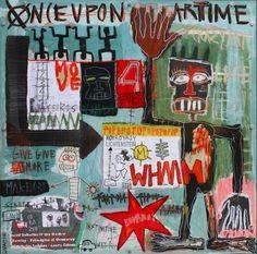 """Once upon art time, 2014"" by Sylvia Calmejane  - Mixed media, plexiglas screwed on metallic frame 100 x 100 cm #Street #Art"