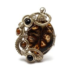 Wire Wrapped Pendant with Chalcedony, Agate and Black Onyx stones by HippieChic on Etsy