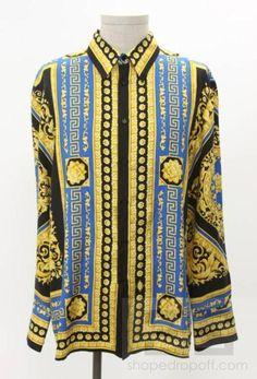 Gianni Versace Men's Black Blue & Gold Silk Baroque
