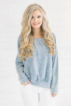Women's Reverse Terry Pullover- Trendy Blue Pullover- $35- Juliana's Boutique
