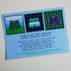 Splish Splash Pool Party Birthday Printable Invitation - Boy