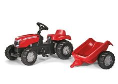 Massey Ferguson Kid Tractor with Trailer.  Your little one will love this tractor ride-on toy! It looks just like the real thing! The best part is it even comes with a trailer so your little farmer can haul toys, rocks, and anything else a farmer needs. Ages 3 and up.