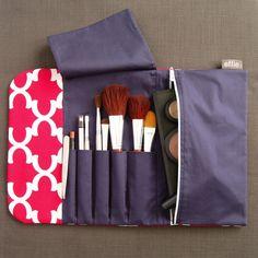 travel makeup bag - Makeup Travel Bag - Pink Moroccan Tile - effie handmade