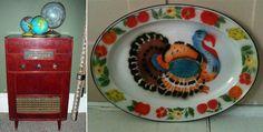 Wentworth radio and vibrant enamel ware turkey platter - weekend finds.