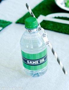 water bottle soccer decor