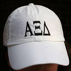 Alpha Xi Delta (AXiD) Sorority Hat White with Greek Letters: $26.00. Great Greek Gift.