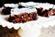 The Pioneer Woman: Caramel Brownies - caramel sandwiched between chocolate layers - uses boxed cake and store bought caramels