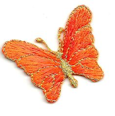 BUTTERFLY ORANGE/MET GOLD EMBROIDERED IRON ON APPLIQUE #Unbranded