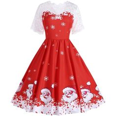 Red 5xl Plus Size Christmas Snowflake Santa Claus Dress (54 PLN) ❤ liked on Polyvore featuring dresses, christmas dresses, plus size day dresses, women plus size dresses, womens plus dresses and red dresses