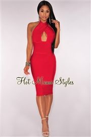 Red Peep Hole Halter Bandage Dress
