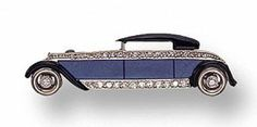 ART DECO LAPIS LAZULI, DIAMOND AND ENAMEL ``A UTOMOBILE'' BROOCH, CIRCA 1920