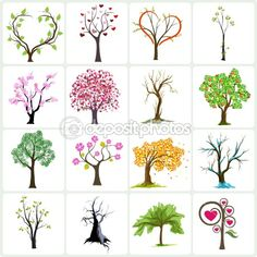 Big collection of abstract trees — Stock Illustration Buch Design, Vector Trees, Button Art, Tree Art, Easy Drawings, Tree Drawings, Drawing Trees, Doodle Art, Doodle Trees