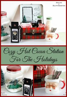A vintage inspired hot cocoa station for the holidays. Love the old Santa mug!