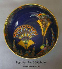 Carlton Ware - Violet Elmer's Egyptian Fan bowl. Carlton Ware, Stoke On Trent, High Art, Tins, Art Deco Fashion, Egyptian, Vases, Art Nouveau, Porcelain