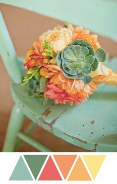LOVE! This is pretty close to my color scheme! succulent bouquet, green, coral, mint, wood, chair, flowers, yellow, by phoebe