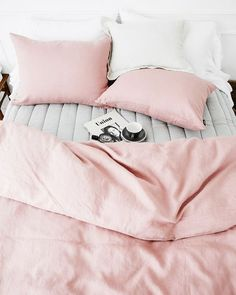 Blush and grey bed