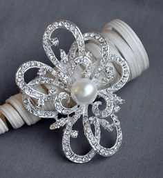 Rhinestone Brooch Component Crystal Pearl by yourperfectgifts, $6.50