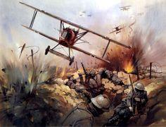 Fokker DVII strafing French troops - Michael Turner