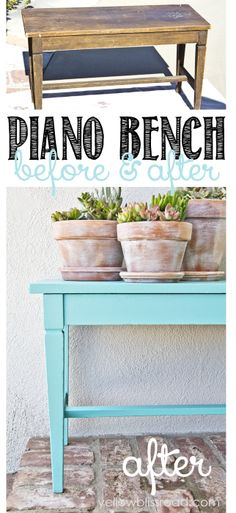 Gorgeous Piano Bench Makeover for Summer - Click over to see the whole beautiful porch!