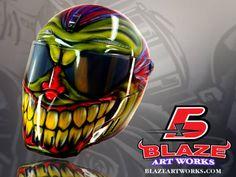 Airbrushed-Motorcycle-Helmet-Bandit-Alien-II-Evil-clown-design-like-Simpson Buy online at http://blazeartworks.com/shop-2/