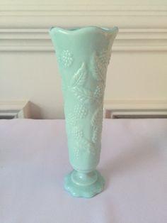 Fostoria Berry Vase, Aqua Milk Glass, 1950's