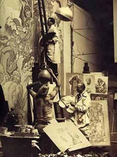 Illustrator/Painter/ Muralist Dean Cornwell working with a live model at the Los Angeles Public Library 1932.