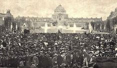 Opening day of 1904 St. Louis World fair.  Festival Hall and the Terrace of States are in the distance
