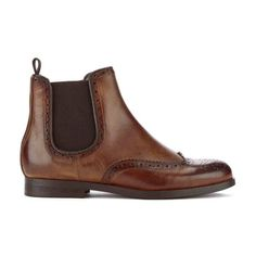 H Shoes by Hudson Women's Asta Leather Brogue Chelsea Boots (1,425 GTQ) ❤ liked on Polyvore featuring shoes, boots, ankle booties, tan, pointed-toe ankle boots, leather ankle boots, cognac leather booties, perforated booties and flat ankle boots