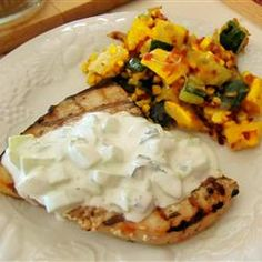 Grilled Swordfish Steaks with Cucumber Sauce Allrecipes.com