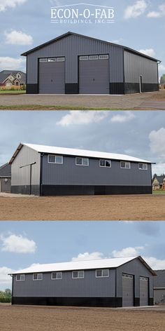 This is a nice looking 40 x 60 x 16 residential pole building that features a charcoal grey wall metal with a 4 black wainscot. It has windows along the upper eave wall for additional light and privacy. Diy Pole Barn, Metal Pole Barns, Metal Garage Buildings, Pole Barn House Plans, Pole Buildings, Shop Buildings, Pole Barn Homes, Steel Buildings, Pole Barn Garage