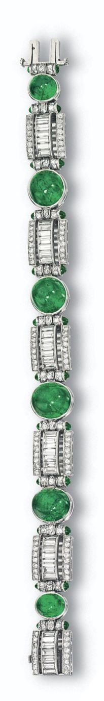 CABOCHON EMERALD AND DIAMOND BRACELET, CIRCA 1930. Collet-set with 6 oval and round cabochon emeralds alternating with diamond-set rectangular links with cylindrical terminals set with small round cabochon emeralds, the whole set with 42 baguette and 168 round diamonds weighing approximately 7.20 carats, mounted in platinum, length 7 1/8 inches.