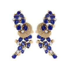 Marchak Marchak Mid Century Blue Sapphire Diamond and Gold Earrings