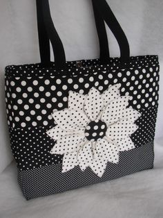 Black large flower, reversible bag by Kiki Polglase