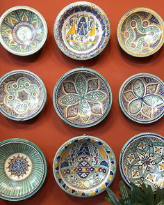 Collection of Moroccan plates on our paprika wall - love the patterns of Fes Tierra Del & Moroccan plates | Abode | Pinterest | Moroccan Pottery and Tablewares
