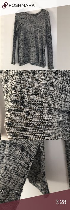 Bb Dakota Knit Sweater Black and white knit sweater with side slits and open back detail. Worn a couple times BB Dakota Sweaters