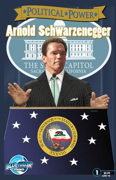 Political Power: Arnold Schwarzenegger COMIC BOOK.  From bodybuilder to movie icon to Governor of California, the man formerly known as the Conan the Barbarian and the Terminator is truly living the American Dream. From his humble beginnings in Austria to having realistic goals of being the first immigrant in the White House, Schwarzenegger has proven the power of popularity.  Now on Nook, iTunes & Kindle as well as where other digital comics are sold