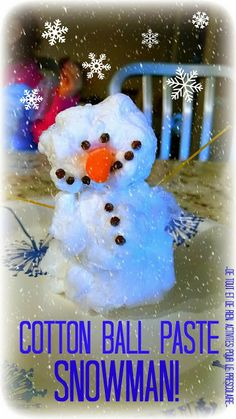 Cotton ball paste snowman -