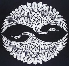 Japanese Indigo Two Cranes Batik Panel (item detailed views) Japanese Patterns, Japanese Art, Prophetic Art, Madhubani Art, Cover Tattoo, Elements Of Art, Illustrations And Posters, Pattern Wallpaper, Bunt