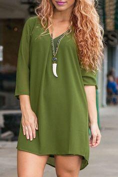 Stylish V-Neck Loose-Fitting 3/4 Sleeves Dress For Women